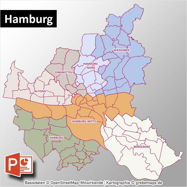 PowerPoint-Karte Hamburg mit Bezirken und Stadtteilen mit Bitmap-Karten, Karte Hamburg Stadtbezirke PowerPoint, Karte Hamburg Stadtteile PowerPoint
