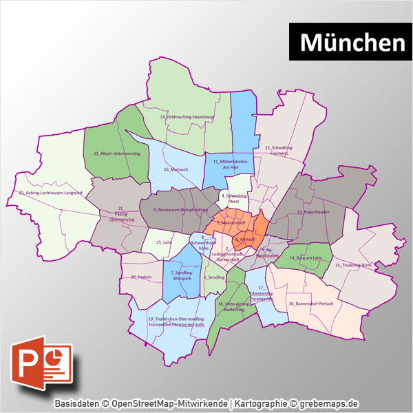 PowerPoint-Karte München mit Bezirken und Stadtteilen mit Bitmap-Karten, Karte München PowerPoint, Karte München Stadtteile PowerPoint, Karte München Stadtbezirke PowerPoint, PowerPoint-Landkarte München