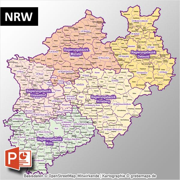 PowerPoint-Karte NRW Nordrhein-Westfalen Gemeinden Landkreise Regierungsbezirke, Karte PowerPoint NRW, Karte PowerPoint NRW Landkreise, Karte PowerPoint NRW Gemeinden, Karte PowerPoint Nordrhein-Westfalen