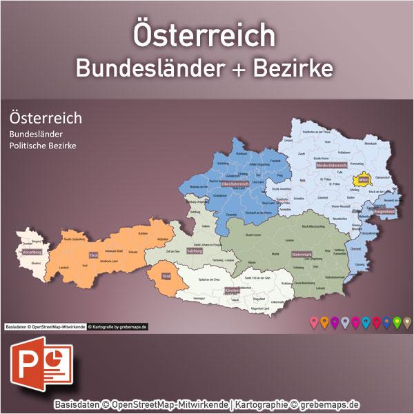 PowerPoint-Karte Österreich Austria Bundesländer Bezirke, Karte Österreich Bezirke, PowerPoint-Karte Österreich Bezirke, Karte PowerPoint Austria Bezirke, PowerPoint-Karte Österreich