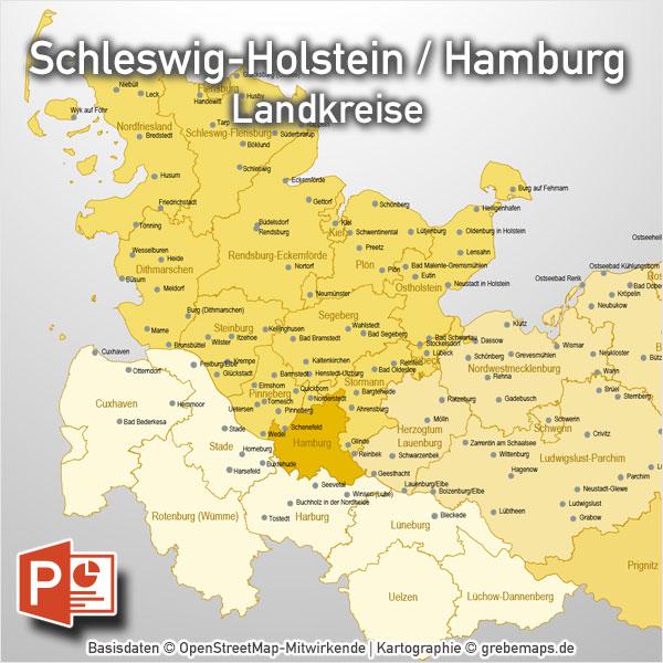 PowerPoint-Karte Schleswig-Holstein Hamburg Landkreise, Karte PowerPoint Schleswig-Holstein Landkreise, Karte Landkreise Schleswig-Holstein PowerPoint