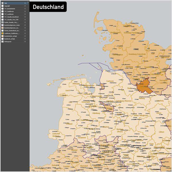 Deutschland Landkreise Stadtkreise Bundesländer Vektorkarte, Karte Deutschland Landkreise, Karte Deutschland Bundesländer, Karte Landkreise Deutschland