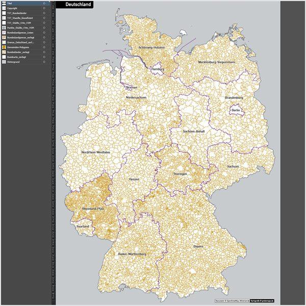 Deutschland Gemeinden Bundesländer Vektorkarte ohne Gemeindenamen, Karte Deutschland Gemeinden, Vektorkarte Deutschland Gemeinden, Karte Gemeinden Deutschland, Karte Vektor Gemeinden Deutschland