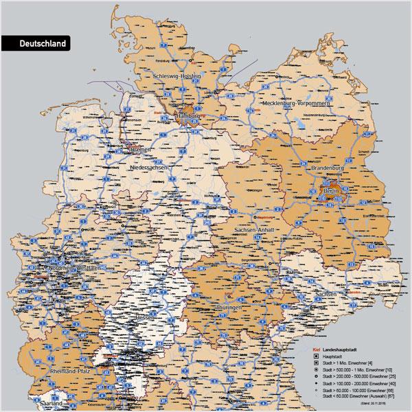 deutschlandkarte autobahnen und städte Deutschland Autobahnen Städte Gewässer Bundesländer Vektorkarte