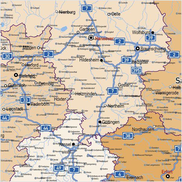 Deutschland Autobahnen Stadte Gewasser Bundeslander Vektorkarte
