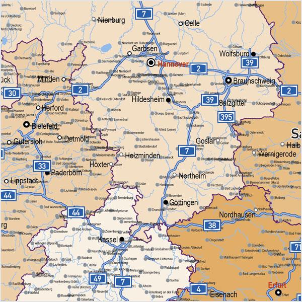 karte bundesländer mit autobahnen Deutschland Autobahnen Städte Gewässer Bundesländer Vektorkarte