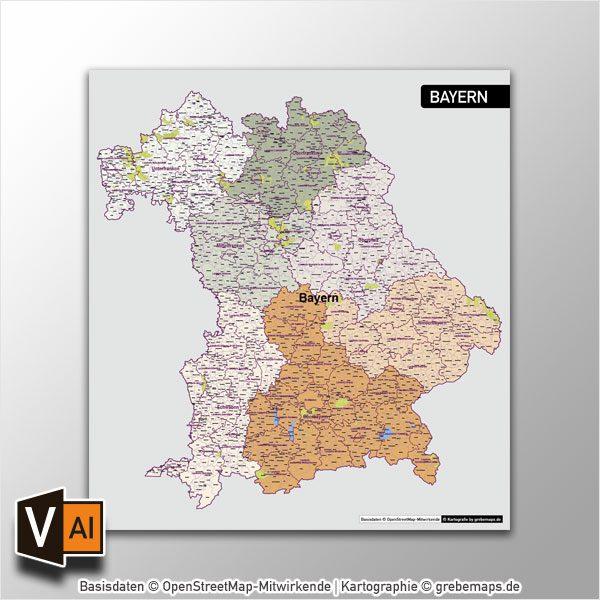 Bayern Vektorkarte Gemeinden Landkreise Regierungsbezirke, Karte Bayern Gemeinden, Karte Bayern Landkreise, Vektorkarte Bayern Gemeinden, Vektorkarte Bayern Landkreise, Landkreiskarte Bayern, Gemeindekarte Bayern