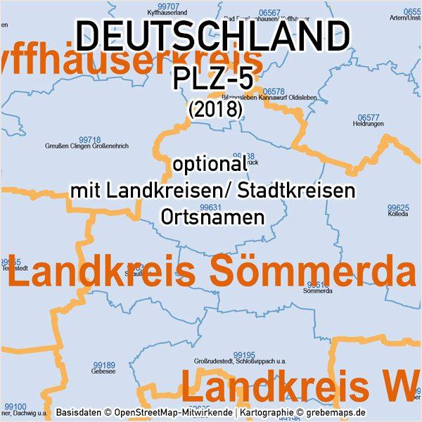 Deutschland Postleitzahlen PLZ-5 Vektorkarte 5-stellig Landkreise Ortsnamen, PLZ-Karte Deutschland, Karte PLZ Deutschland 5-stellig, PLZ-5 Karte Deutschland, Vektorkarte PLZ Deutschland mit Landkreisen