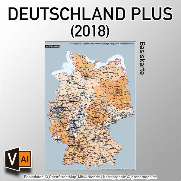 Deutschland PLUS Basiskarte Vektorkarte Bundesländer Autobahnen Gewässer Orte, Karte Deutschland Bundesländer, Vektorkarte Deutschland Bundesländer, Karte Deutschland Autobahnen