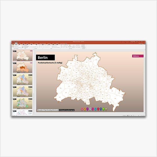 PowerPoint-Karte Berlin Postleitzahlen PLZ-5 mit Bitmap-Karten, PowerPoint-Karte Berlin PLZ, Karte PLZ Berlin PowerPoint, Karte Postleitzahlen Berlin PowerPoint