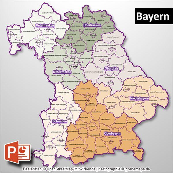 Karte Oberbayern Landkreise.Powerpoint Karte Bayern Regierungsbezirke Landkreise Gemeinden Als Bitmap Karte Digital