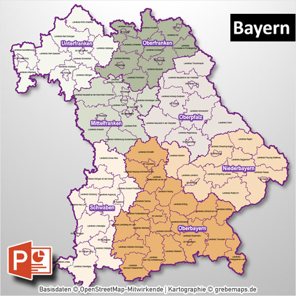 PowerPoint-Karte Bayern Regierungsbezirke Landkreise , Karte Landkreise Bayern PowerPoint, Landkreise Bayern PowerPoint-Karte