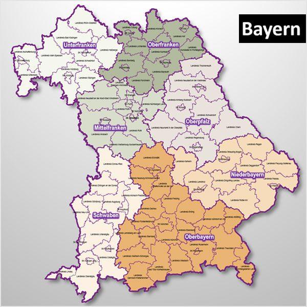 Unterfranken Karte.Powerpoint Karte Bayern Regierungsbezirke Landkreise Gemeinden Als Bitmap Karte Digital