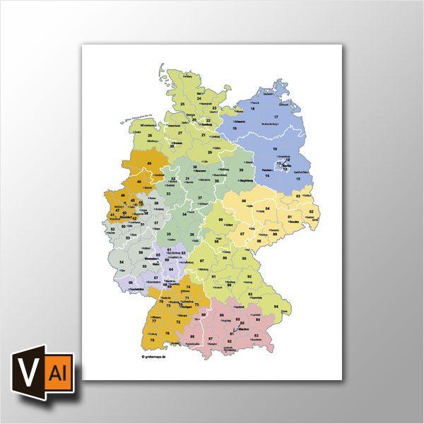 Deutschland Postleitzahlenkarte PLZ-2 Vektor 2-stellig, PLZ Karte Deutschland, Postleitzahlenkarte Deutschland 2-stellig, Karte PLZ 2-stellig Deutschland