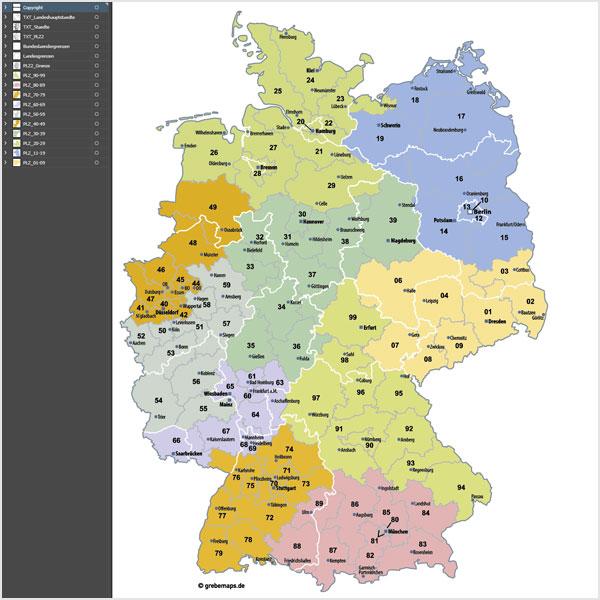 Deutschland Postleitzahlenkarte Plz 2 Vektor 2 Stellig 2015