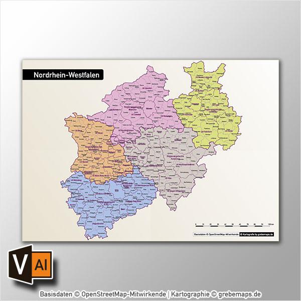 Nordrhein-Westfalen Vektorkarte NRW Landkreise Regierungsbezirke Gemeinden Autobahnen, Karte NRW, Karte Nordrhein-Westfalen Gemeinden, Karte Nordrhein-Westfalen Landkreise, Karte NRW Gemeinden, Karte NRW Landkreise