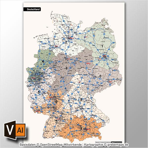 Deutschland Postleitzahlenkarte PLZ-1-2-3 Vektorkarte 3-stellig, Autobahnen, Postleitzahlenkarte Deutschland 3-stellig, PLZ-Karte Deutschland 3-stellig, Karte PLZ DeutschlandDeutschland Postleitzahlenkarte PLZ-1-2-3 Vektorkarte 3-stellig, Autobahnen, Postleitzahlenkarte Deutschland 3-stellig, PLZ-Karte Deutschland 3-stellig, Karte PLZ Deutschland