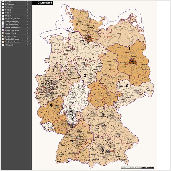 Deutschland Postleitzahlenkarte PLZ-1-2-3 Vektorkarte 3-stellig, Autobahnen, Postleitzahlenkarte Deutschland 3-stellig, PLZ-Karte Deutschland 3-stellig, Karte PLZ Deutschland
