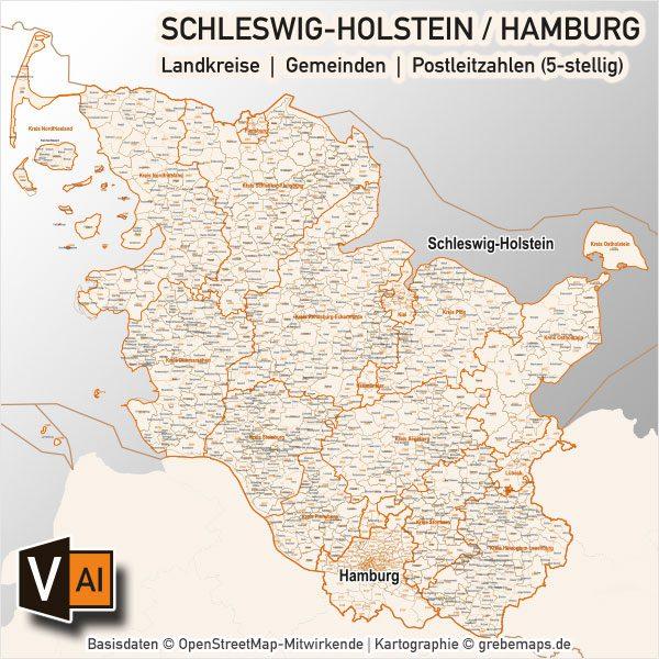 Schleswig-Holstein / Hamburg Vektorkarte Landkreise Gemeinden PLZ-5, Karte Schleswig-Holstein Postleitzahlen, Karte Schleswig-Holstein, Karte SH, Karte Hamburg, Karte Gemeinden SH, Karte Schleswig-Holstein Gemeinden