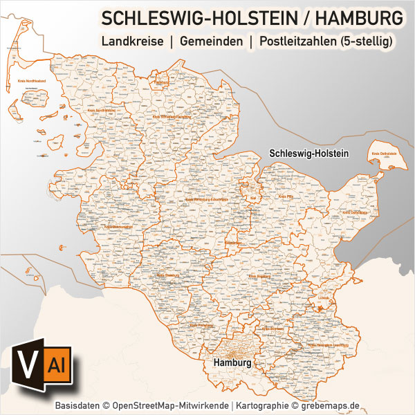 plz karte schleswig holstein Schleswig Holstein / Hamburg Vektorkarte Landkreise Gemeinden PLZ