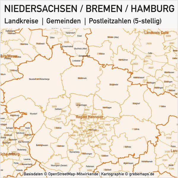 Niedersachsen / Bremen / Hamburg Landkreise Gemeinden PLZ-5 Vektorkarte, Karte Niedersachsen PLZ, Karte Niedersachen Gemeinden, Karte Niedersachen Landkreise, Landkreiskarte, Gemeindekarte, PLZ-Karte Niedersachsen