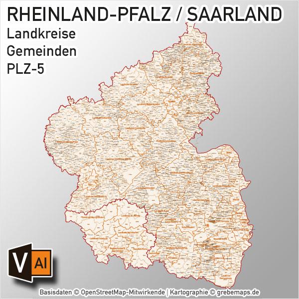 Rheinland-Pfalz / Saarland Vektorkarte Landkreise Gemeinden PLZ-5, Karte Rheinland-Pfalz Landkreise, Karte Rheinland-Pfalz Gemeinden, Karte Saarland Landkreise, Karte Saarland Gemeinden