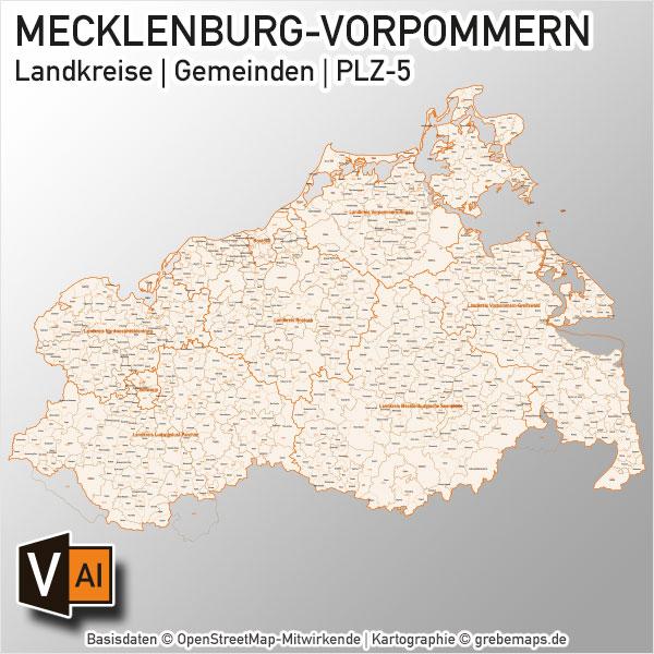 Mecklenburg-Vorpommern Vektorkarte Landkreise Gemeinden PLZ-5, Karte Landkreise Mecklenburg-Vorpommern, Karte Gemeinden Mecklenburg-Vorpommern, Karte Postleitzahlen Mecklenburg-Vorpommern, Karte PLZ Mecklenburg-Vorpommern, Vektorkarte Mecklenburg-Vorpommern Gemeinden, Karte Mecklenburg-Vorpommern Landkreise, Karte PLZ Mecklenburg-Vorpommern