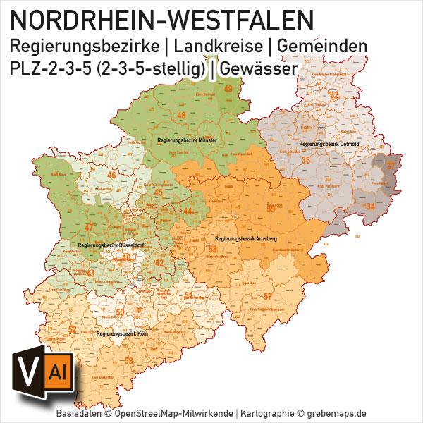 Karte Nrw Plz.Nordrhein Westfalen Nrw Vektorkarte Landkreise Gemeinden Plz 2 3 5 Digital