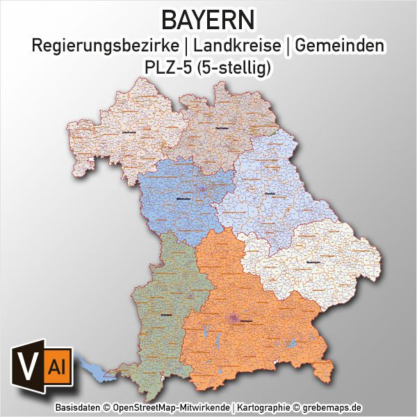 Plz Karte Bayern.Bayern Vektorkarte Gemeinden Landkreise Regierungsbezirke Plz 5 Digital