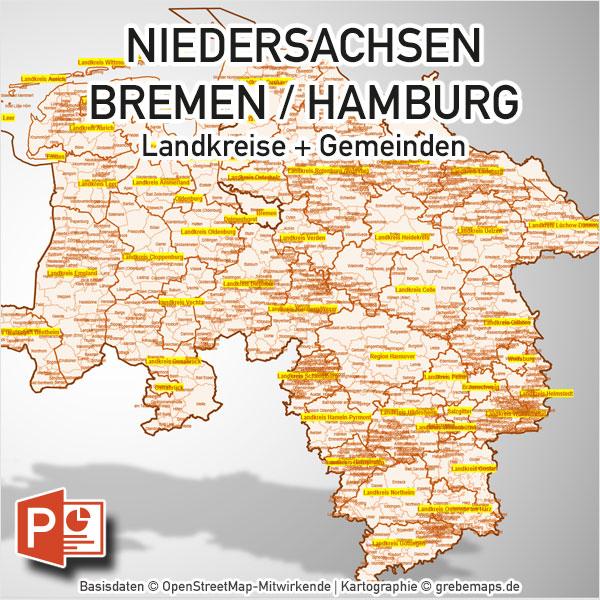 PowerPoint-Karte Niedersachsen Bremen Hamburg Landkreise Gemeinden, Karte Niedersachsen Landkreise PowerPoint, Karte Niedersachsen Gemeinden PowerPoint, Landkarte Niedersachsen PowerPoint Gemeinden, Gemeindekarte Niedersachsen, Landkreiskarte Niedersachsen