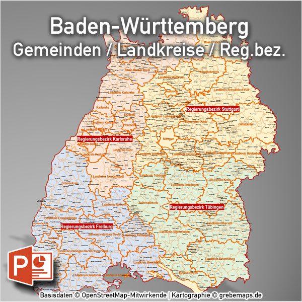 Powerpoint Karte Baden Wurttemberg Landkreise Gemeinden