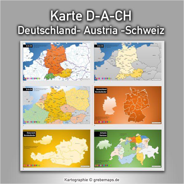 PowerPoint-Karte Deutschland Austria Schweiz D-A-CH mit Bundesländern / Kantonen, Karte PowerPoint Deutschland Schweiz Österreich DACH D-A-CH, PowerPoint-Karte D-A-CH