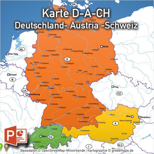 landkarte deutschland und österreich PowerPoint Karte Deutschland Austria Schweiz D A CH mit