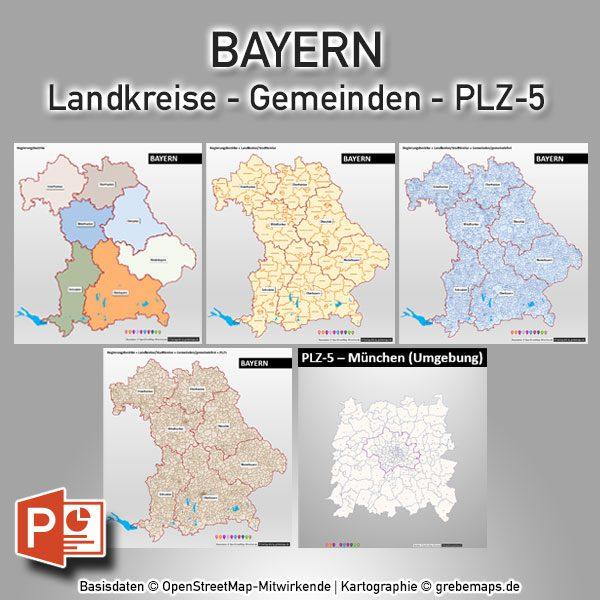 Plz Karte Bayern.Powerpoint Karte Bayern Regierungsbezirke Landkreise Gemeinden Postleitzahlen Plz 5 Digital