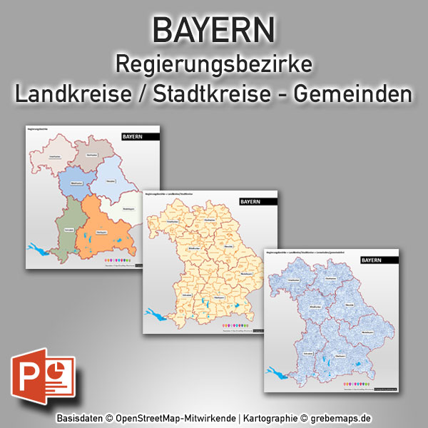 PowerPoint-Karte Bayern Regierungsbezirke Landkreise Gemeinden, PowerPoint-Karte Gemeinden Bayern, PowerPoint-Karte Landkreise Bayern, Karte PowerPoint Gemeinden Bayern, PowerPoint Karte Landkreise Bayern