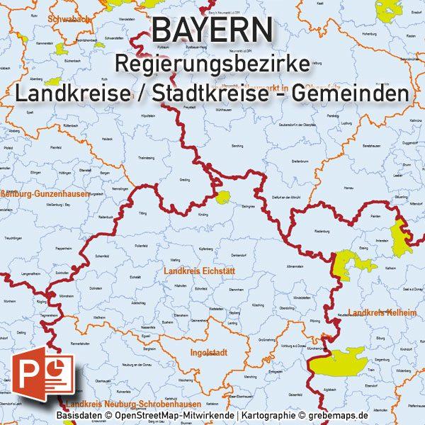 Karte Oberbayern Landkreise.Powerpoint Karte Bayern Regierungsbezirke Landkreise Gemeinden Digital