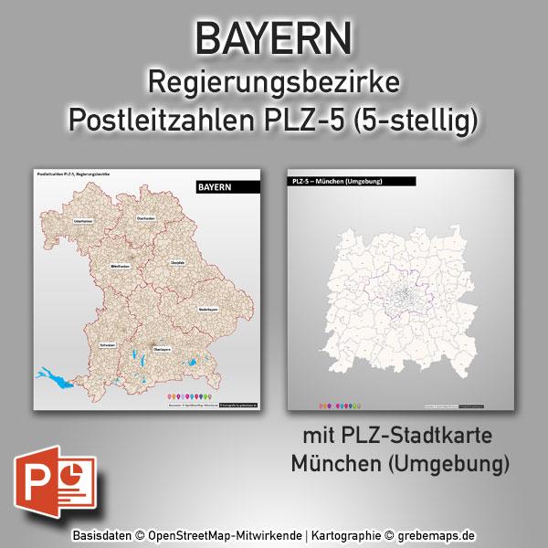 PowerPoint-Karte Bayern Postleitzahlen PLZ-5 (5-stellig) mit München, PowerPoint-Karte Postleitzahlen Bayern, PowerPoint-Karte PLZ Bayern, PowerPoint-Karte Postleitzahlen 5-stellig Bayern, PowerPoint-Karte PLZ-5 Bayern, PLZ-Karte Bayern PowerPoint