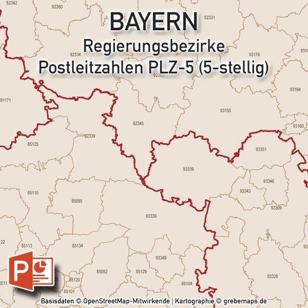 Plz Karte Bayern.Powerpoint Karte Bayern Postleitzahlen Plz 5 5 Stellig Mit Plz 5 Stadtkarte München Digital