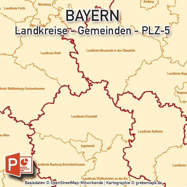 Landkreise Mittelfranken Karte.Powerpoint Karte Bayern Regierungsbezirke Landkreise Gemeinden Postleitzahlen Plz 5 Digital