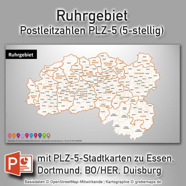 PowerPoint-Karte Ruhrgebiet Postleitzahlen PLZ-5 (PLZ 5-stellig), Karte PowerPoint Ruhrgebiet PLZ, Karte PLZ Ruhrgebiet PowerPoint