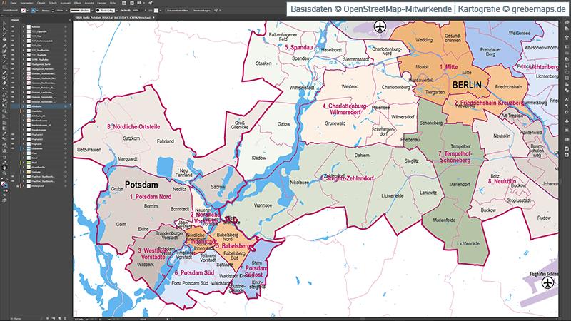Berlin Potsdam Stadtbezirke Stadtteile Topographie Vektorkarte, Karte Berlin Stadtteile, Vektorkarte Berlin Stadtteile, Karte Berlin Vektor download, Karte Vektor Berlin download