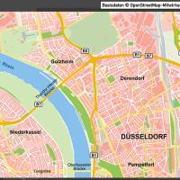 Düsseldorf-Mitte Übersichtskarte Vektorkarte, Karte Düsseldorf Mitte, Karte Düsseldorf Innenstadt, Karte Düsseldorf Zentrum, Karte Düsseldorf mit Gebäuden, Karte Düsseldorf AI-Datei download