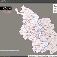 Köln Postleitzahlen PLZ-5 Topographie Stadtbezirke Stadtteile Vektorkarte, Karte Köln Stadtteile, Karte Köln Postleitzahlen, Karte Köln PLZ, Karte Köln PLZ-5, Karte Köln PLZ 5-stellig, Vektorkarte Köln AI-Datei download