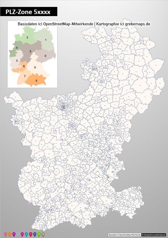 PowerPoint-Karte Deutschland Postleitzahlen 5-stellig PLZ-Zone-5 mit PLZ-5-Stadtkarte Köln-Bonn, Karte PLZ PowerPoint Deutschland