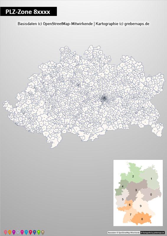 PowerPoint-Karte Deutschland Postleitzahlen 5-stellig PLZ-Zone-8 mit PLZ-5-Stadtkarte München, Karte Powerpoint PLZ Deutschland