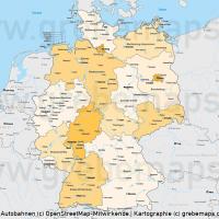Deutschland Bundesländer Autobahnen Vektorkarte mit angrenzenden Ländern, Karte Deutschland Autobahnen, Karte Deutschland Flüsse, Karte Deutschland Bundesländer, Vektorkarte Deutschland Autobahnen, Vektorkarte Deutschland Städte