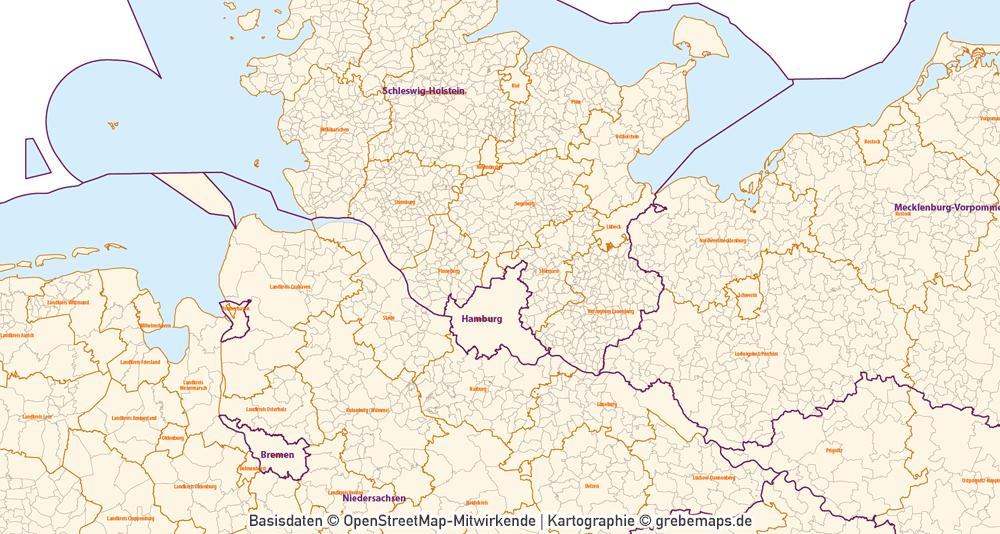 Karte Gemeinden Deutschland mit Landkreisen Vektorkarte (2019), Gemeindekarte Deutschland, Karte Gemeinden Deutschland, Vektorkarte Deutschland Gemeinden
