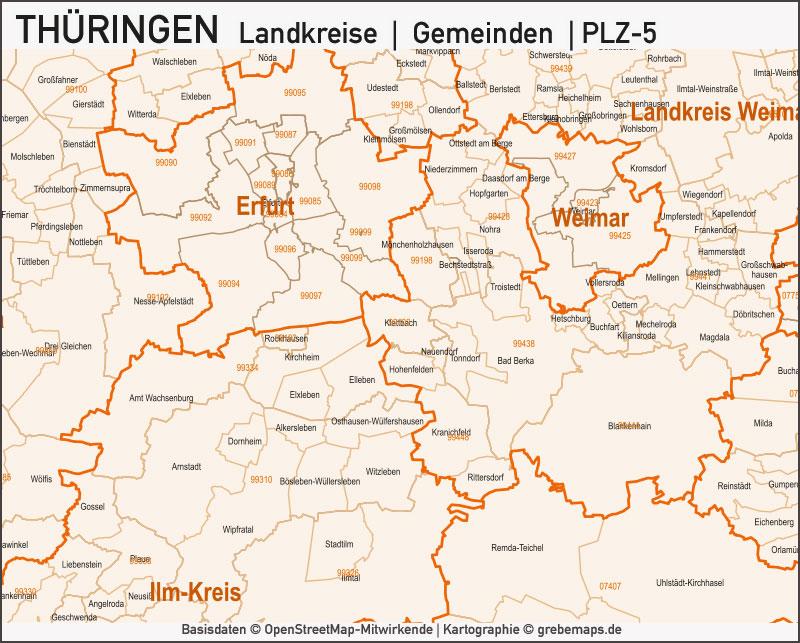 Thüringen Landkreise Gemeinden Postleitzahlen PLZ-5 Vektorkarte, Karte Thüringen Landkreise, Karte Thüringen Gemeinden, Karte Thüringen Postleitzahlen, Karte Thüringen PLZ-5, Karte Thüringen PLZ 5-stellig, Bundeslandkarte Thüringen