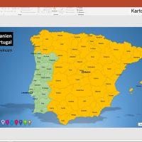 PowerPoint-Karte Spanien Portugal mit Provinzen, Karte PowerPoint Spanien, Karte PowerPoint Portugal