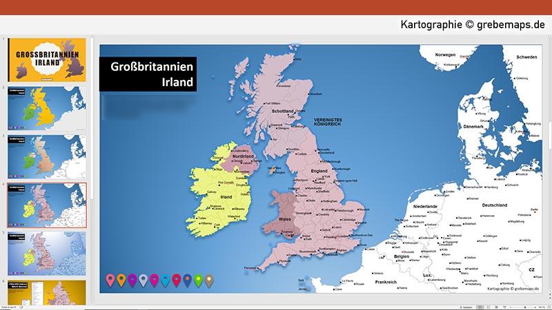 PowerPoint-Karte Großbritannien Irland mit Provinzen, Karte PowerPoint England, Karte PowerPoint Großbritannien, PowerPoint-Karte Irland Schottland Wales England